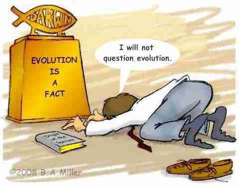 Darwin-Altaar Het scheppingsverhaal is een geloof, evolutie is wetenschap
