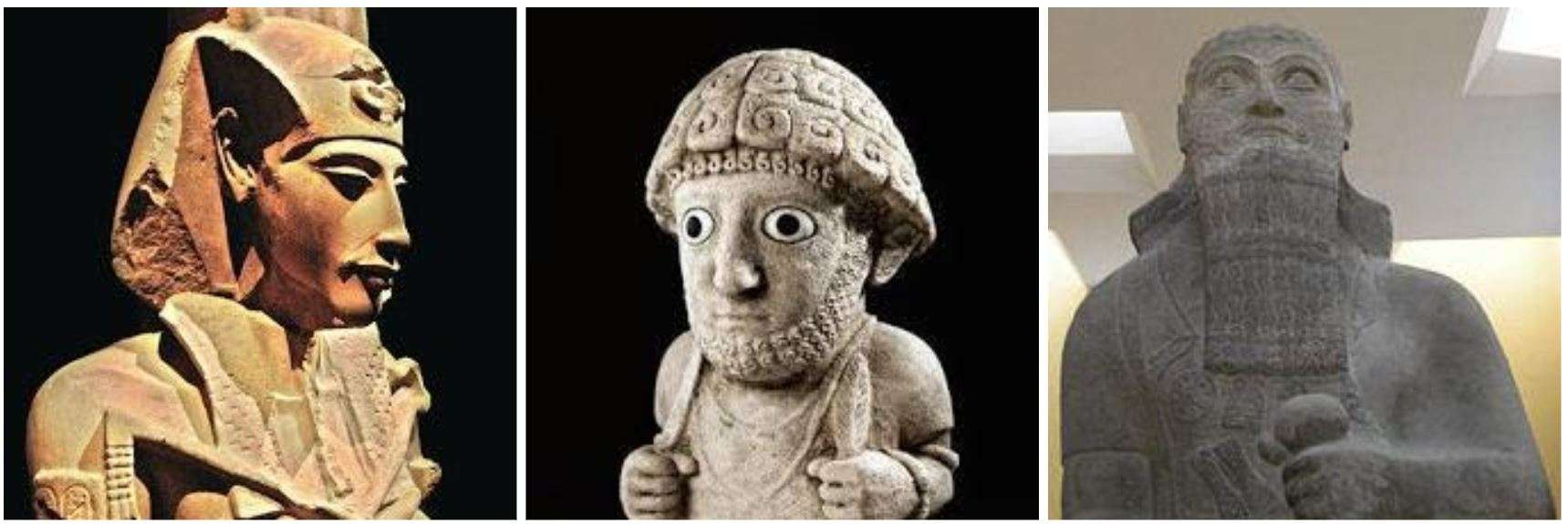 Farao Echnatan, de Hettitische koning Suppiluliama I en de Assyrische koning Salmanasser III